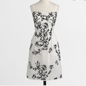 J. Crew Factory Black and White Embroidered Dress